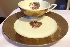 Gold Glazed Royal Porzellan Germany Handarbeit Frankfurt Crest & Cup Plate*