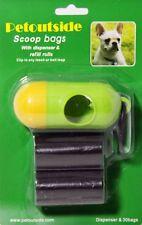 Kit of 2 rolls (30 bags) DOG PET WASTE POOP BAGS with DISPENSER Petoutside USA