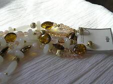 & White Plastic Bead Doublestrand Estate Parure Translucent Faceted Bronze