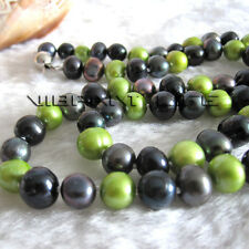 "22.5"" 6-8mm Multi Color Peacock Green Black Freshwater Pearl Necklace U"