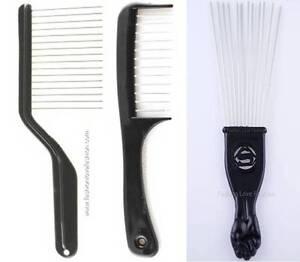 1 Piece Hair K-Cutter Detangler Comb Piks Lift afro braid or Metal Fan Pik
