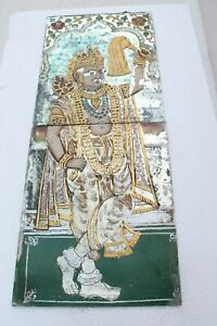 Vintage Old Glass Painting Hand Crafted Temple Gold Work NH2044