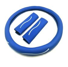 Lenkradbezug blau Kunstleder 37-39 cm Lenkrad Schoner mit Gurtpolster NEU