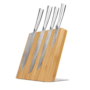 Magnetic Bamboo Knife Holder Kitchen Organisation Cutlery Set Storage M&W