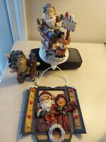 Santa Claus Stocking Holder Mantle Plaque Christmas Holiday Figures Lot 3 vtg