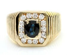 1.99 Carat Natural Blue Sapphire and Diamonds in 14K Solid Yellow Gold Men Ring
