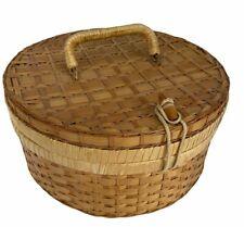 More details for vintage wicker basket round lidded handle sewing storage home retro display
