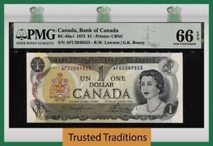 TT PK BC-46a-i 1973 CANADA BANK $1 QUEEN ELIZABETH II PMG 66Q GEM UNCIRCULATED!