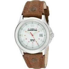 Timex Expedition White Dial Brown Leather Strap Gents Watch T44381