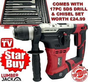 Lumberjack SDS Hammer Drill 3 Mode with 17 Piece Chisel & Bit set in Metal Case
