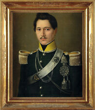 Fine Signed 19th Century Military Officer Portrait Gentleman Antique Painting