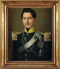 Fine firmado 19th Century militar Retrato Caballero Pintura Antigua