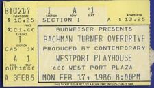 Bachman Turner Overdrive Concert Stub Westport Playhouse St Louis Feb 17 1986
