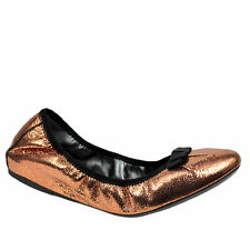 GEOX KARIMA NEW $140 SIZE 7 M 37 BRONZE GLITTER LEATHER BALLET FLATS