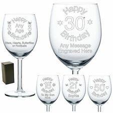 Personalised Wine Glass Engraved Birthday Gifts 18th 21st 30th 50th 60th