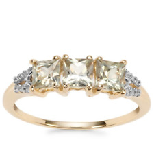 Rare Csarite/Natural Turkish Diaspore Trilogy & Diamond 10K Gold Ring Size N-O/7