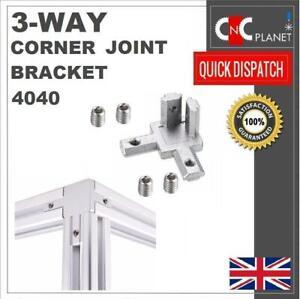 3 Way Corner Joint Bracket connector 4040 Aluminium Extrusion Profile 8mm Slot