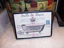Salle De Bain vintage French bathroom sign block Shabby Paris wall decor 5x7