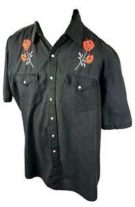John Blair Mens Large Black Flower Pearl Snap Shirt