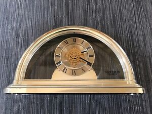 Vintage VERICHRON Quartz Gold Tone Shelf Mantel Clock w/moving gears NICE Tested