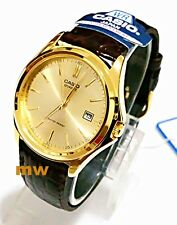CASIO MENS MTP1183Q-9A MTP-1183Q GOLD TONE DATE ANALOG LEATHER DRESS WATCH NEW