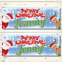 2 PERSONALISED CHRISTMAS BANNERS - ANY NAME - XMAS - SANTA