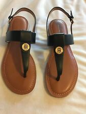 Tommy Hilfiger T-Strap Thong Heeled Sandal Buckle Shoe BLACK SZ 8 M NEW