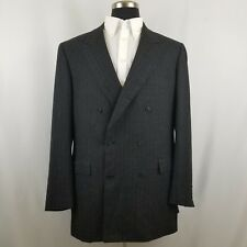 Brioni Tiberio Gray Striped Double Breasted Wool Blazer Suit Jacket Size EU 46 L