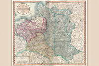 Map of Poland Prussia & Lithuania Antique Map by Cary 1799
