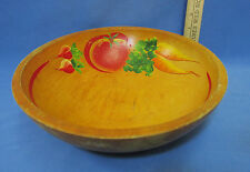 Vintage Wood Wooden Hand Painted Vegetable Bowl Centerpiece Veggie Carrot Tomato