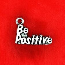 6 x Tibetan Silver 'Be Positive' Charm Pendant Finding Beading Making