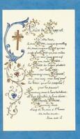 IMAGE PIEUSE HOLY CARD   PRIERE DE BOSSUET DORURES  ENLUMINURES