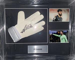 Signed Framed Alisson Becker Liverpool Goalkeeper Glove Brazil Roma