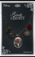 Beauty and the Beast stain glass Enchanted Rose with chip Necklace Disney new