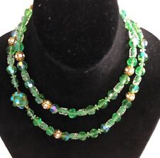 Vintage Peridot Green GIVRE Rondel Crystal bead 33 inch long Necklace