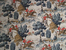 "LINWOOD CURTAIN FABRIC DESIGN ""Tally Ho/ Red Coats"" 2 METRES VELVET (200 CM)"