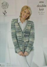 KNITTING PATTERN Ladies Long Sleeve V-Neck Long Cable Jacket Drifter DK 4256