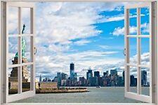 Cheap 3D Window view New York City Wall Sticker Film Mural Art Decal 336