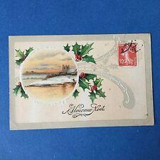 CPA Gaufrée Carte Ancienne JOYEUX NOEL 1910 Circa Houx Postcard MERRY CHRISTMAS