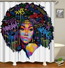 ***WOW**LOOK***African American (black women) Colorful Queen Shower Curtain.