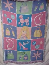 USA Made NWT Barbie My Special Things Triple Woven Tapestry Throw Blanket #328