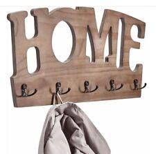 Garderobe »HOME« mit 5 Haken Wandgarderobe aus Kiefernholz Hakenleiste braun