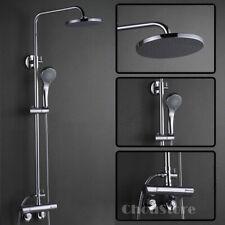Chrome Bathroom Thermostatic Mixing Bath Shower Faucet Rain Shower Head Tap Kit