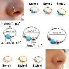 Nose Ring Small Thin Steel Silver Hoop 0.8mm Cartilage Piercing Tragus Helix UK