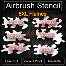 Full Set 6 XL Large Flames Fire Airbrush Reusable Stencil Template FREE SHIPPING