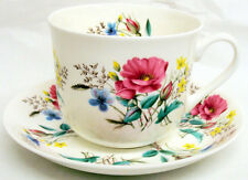 Country Garden Large Cup & Saucer Bone China Breakfast Set Hand Decorated UK