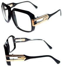 Men's Hip Hop 80's Vintage 623 Clear Lens Eye Glasses Grandmaster Black Gold