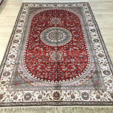 Yilong 5'x8' Red Handmade Silk Area Rug Oriental Hand Knotted Home Carpet 046C