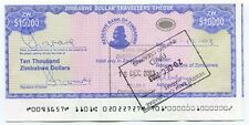 Zimbabwe Dollar Travellers Cheque $10 000 P17 Cutting Error extended r border
