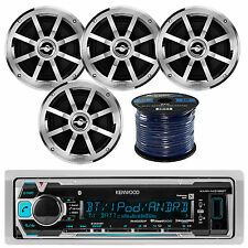 "Kenwood KMRM318BT Marine USB AUX Stereo Receiver, 4x 6.5"" 2-Way Coaxial Speakers"